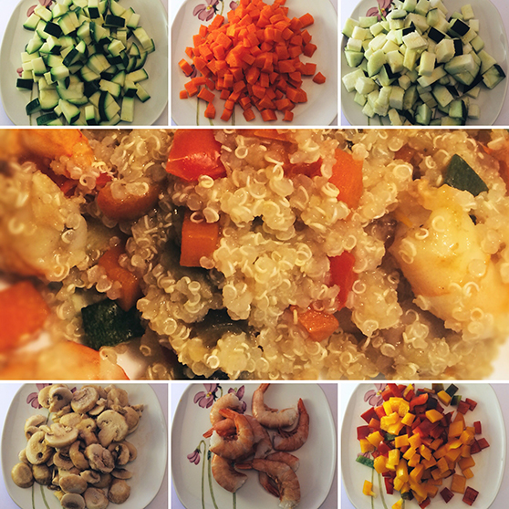 quinoa con verdure e gamberi